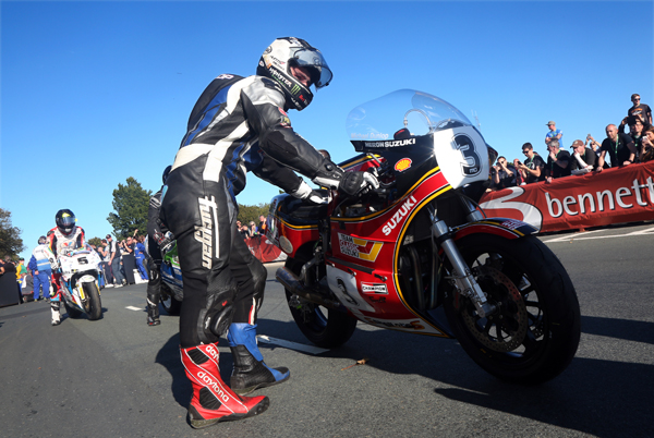Michael Dunlop readies himself to tackle the Mountain Course on his Suzuki-powered classic superbike