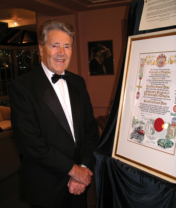 Geoff Duke at 80, receiving the Freedom of the Borough of Douglas