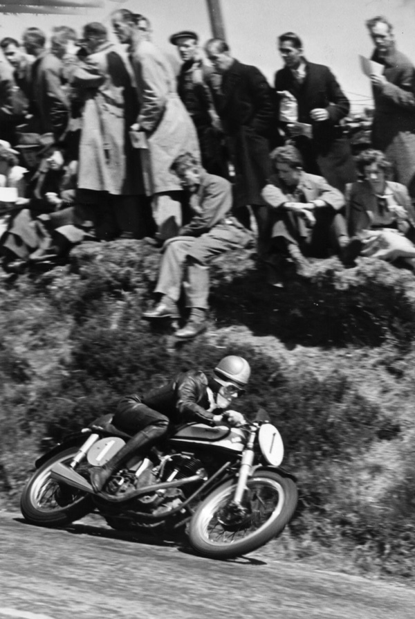 Geoff Duke at Kate's Cottage on the Norton Manx
