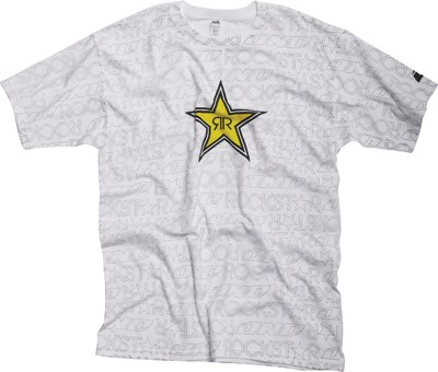 Rockstar Writing on the Wall T-Shirt White - click to enlarge