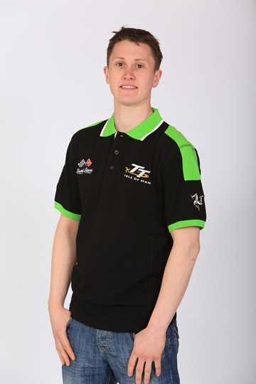 TT 2013 Road Races Polo Black Green Trim - click to enlarge