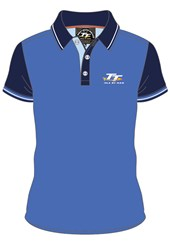 TT 2015 Polo Shirt Blue with Navy Sleeves and Collar
