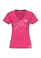 TT Ladies V T-Shirt Diamonte Bike Pink
