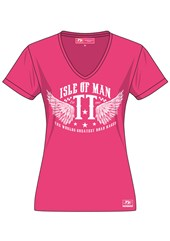 TT  Ladies White Print T Shirt Pink