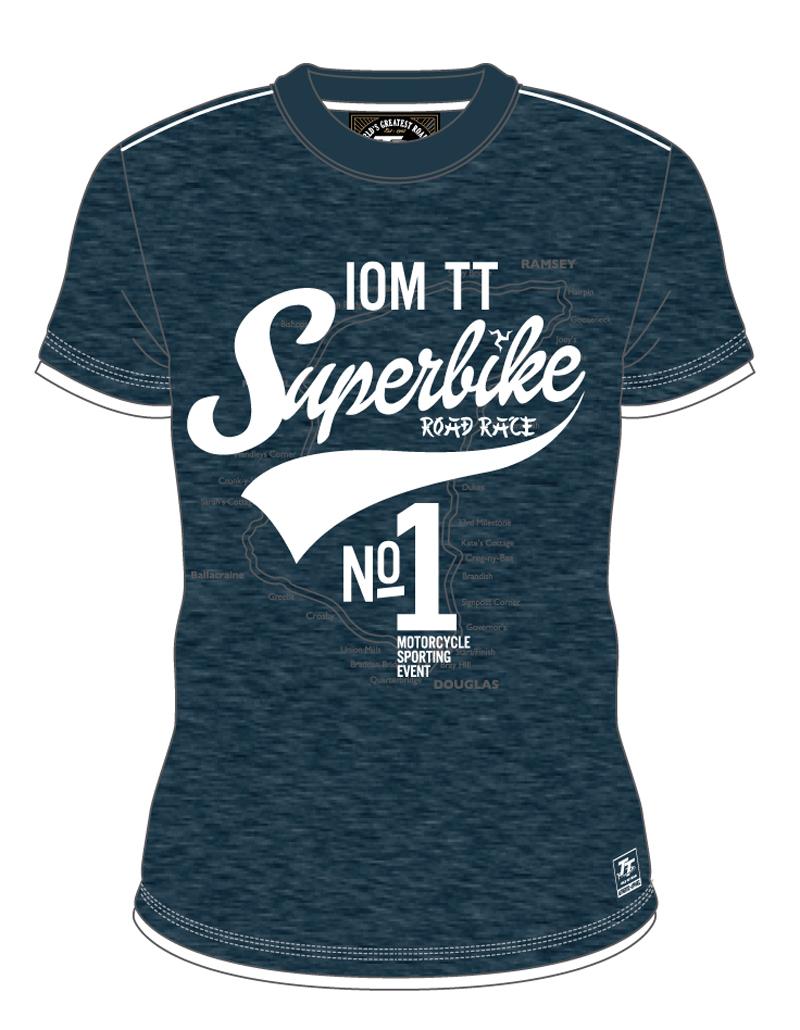 Tt White Superbike Custom T Shirt Navy Isle Of Man Tt