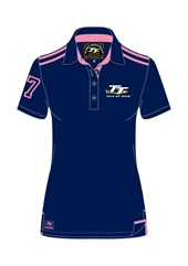 TT Ladies Polo Navy/Pink Stripe