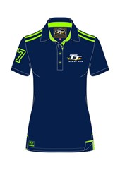 TT Ladies Polo Navy Green Stripes