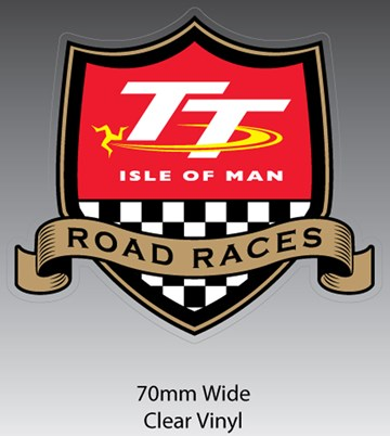 TT Road Races Shield Sticker - click to enlarge