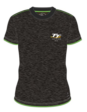 TT 2017 Small Logo Custom T-shirt Grey/Green Trim - click to enlarge