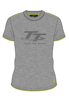 Isle of Man TT Large Logo Custom T-shirt Grey/Yellow Trim
