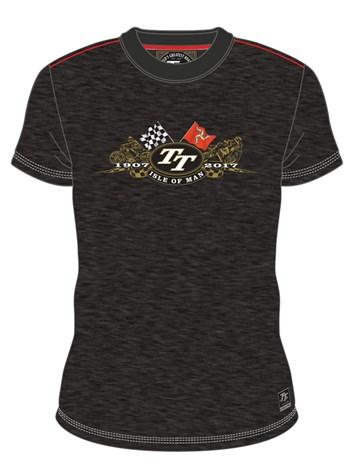 Isle of Man TT 1907-2017 Gold Bike Custom T-shirt Black - click to enlarge