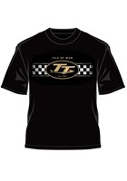 TT Logo & Check Design Retro T-Shirt Black
