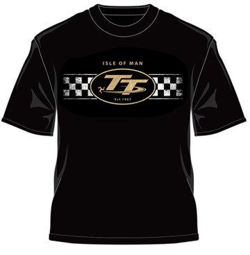 TT Logo & Check Design Retro T-Shirt Black - click to enlarge