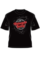 TT Motorcycle Racing Map Retro T-Shirt Black