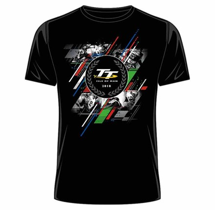 TT 2018 Laurel Badge, Green Red and Blue Stripe T-Shirt - click to enlarge