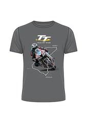 TT Bike 3 Map Outline T- Shirt Charcoal