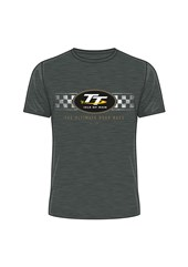 TT 2018 TT Logo Check Design T-Shirt Dark Heather