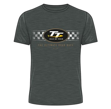 TT 2018 TT Logo Check Design T-shirt dark heather - click to enlarge