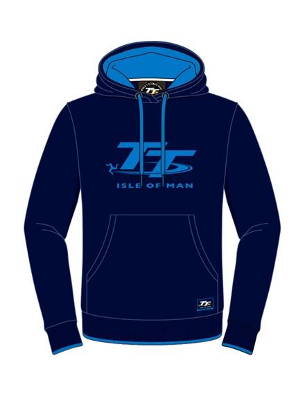 TT Ladies Hoodie Navy, Blue Logo - click to enlarge