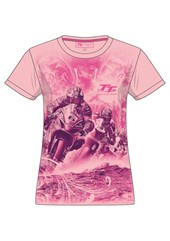 TT Ladies Bike Print T-Shirt Pink