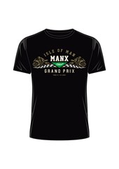 Manx Grand Prix Gold Bike T- Shirt Black