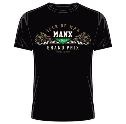 Manx Grand Prix Gold Bike T- Shirt Black - click to enlarge