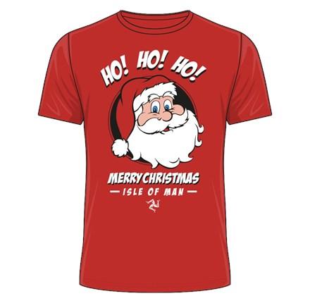 Ho Ho Ho Merry Christmas Isle of Man T-Shirt Red - click to enlarge