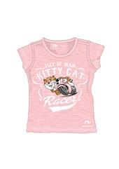 TT Baby Cat  Print T-Shirt Pink
