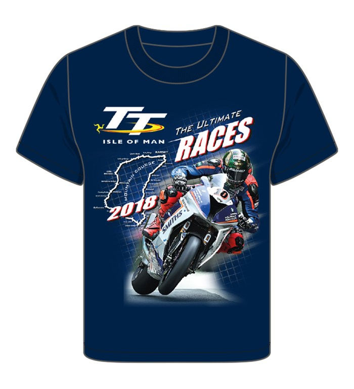 TT 2018 Bike 10 Childs T-Shirt Navy - click to enlarge