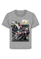 TT 2 Bikes Childs T- Shirt Grey