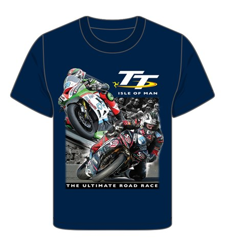 TT 2 Bikes Childs T- Shirt Navy - click to enlarge