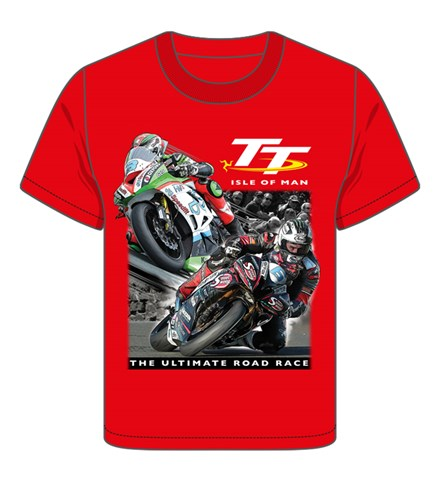 TT 2 Bikes Childs T- Shirt Red - click to enlarge