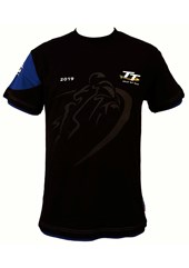TT 2019 Shadow Bike T-shirt Black, Blue Trim.
