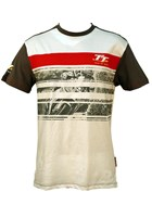 TT Custom T-shirt White with Grey and Red Stripe Print