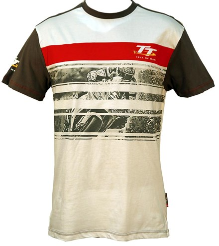 TT Custom T-shirt White with Grey and Red Stripe Print - click to enlarge