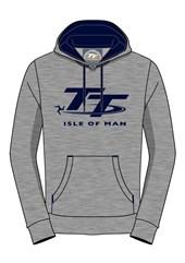 TT Hoodie Grey, Navy Logo