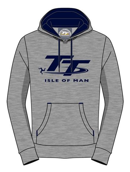 TT Hoodie Grey, Navy Logo - click to enlarge