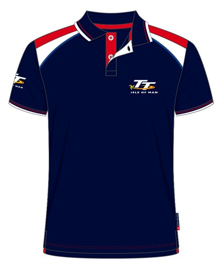 TT Polo Navy, Red and White Shoulder - click to enlarge