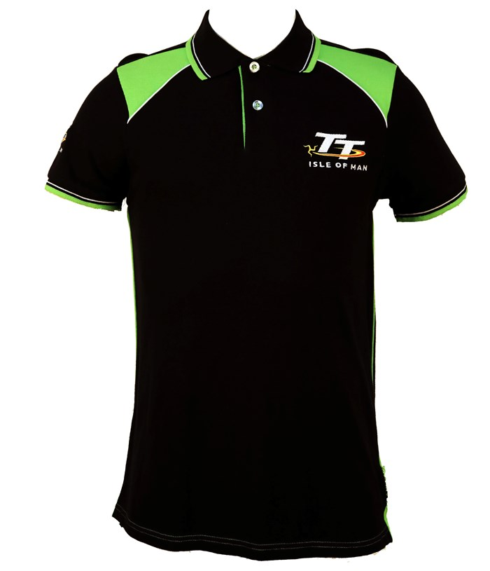 TT Polo Black, Green and White Shoulder - click to enlarge