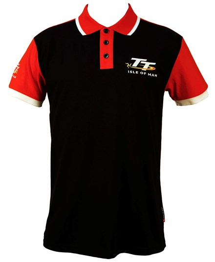 TT Polo Black, Red Shoulder - click to enlarge
