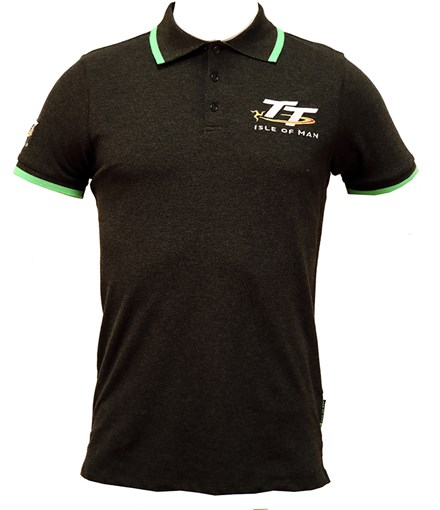 TT Polo Charcoal, Green Trim - click to enlarge