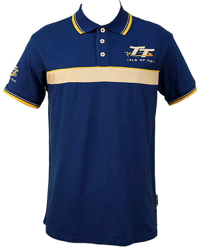 TT Polo Blue, White and Yellow Stripe - click to enlarge