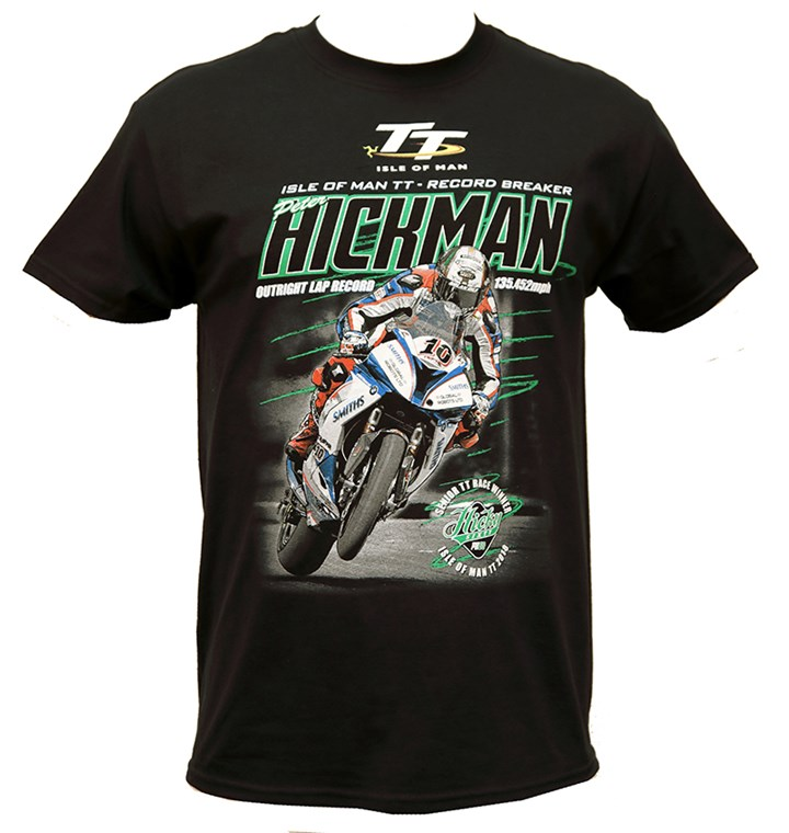 Peter Hickman Record Breaker (Green Lines) T-Shirt Black - click to enlarge