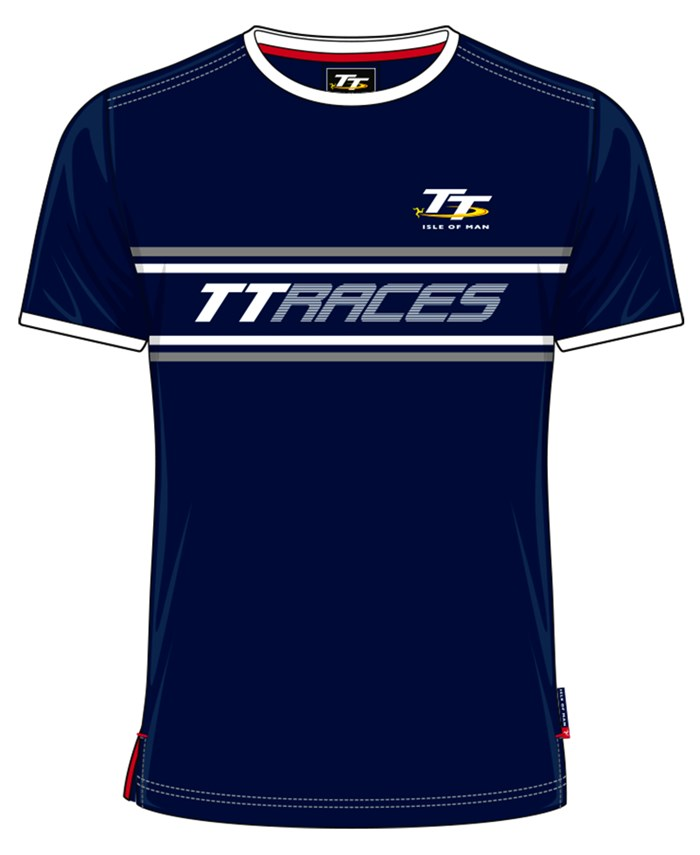 TT Vintage T-shirt Navy, Grey and White TT Races - click to enlarge