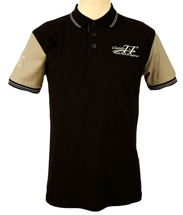 Classic TT Polo Shirt Black with Grey Sleeves - click to enlarge