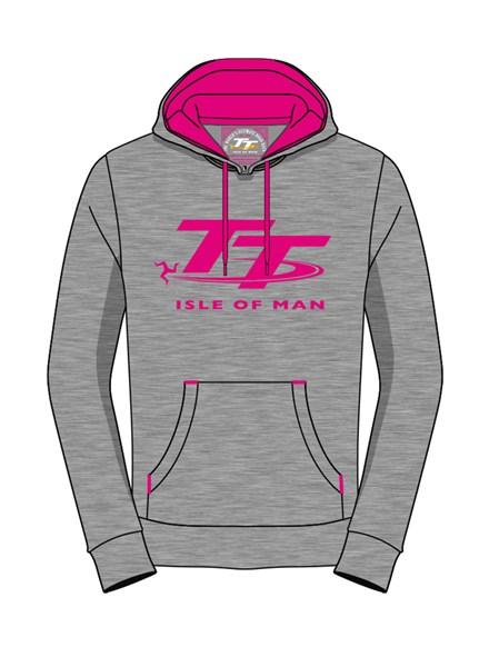 TT Ladies Hoodie Grey/Pink - click to enlarge