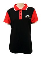 TT Ladies Polo Black with Red Shoulders