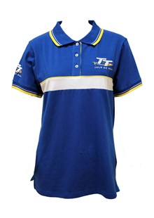 TT Ladies Polo Blue, White and Yellow Stripe