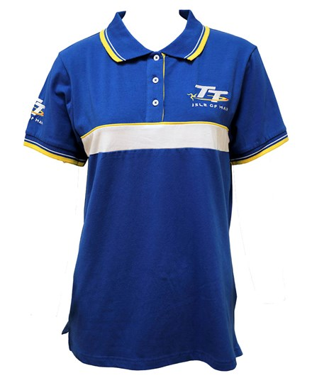 TT Ladies Polo Blue, White and Yellow Stripe - click to enlarge