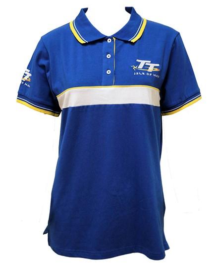 TT Ladies Polo Blue, White and Yellow Stripe